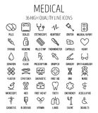 Set of medical icons in modern thin line. Style. High quality black outline medicine symbols for web site design and mobile apps. Simple linear health care Stock Photo