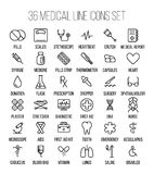 Set of medical icons in modern thin line. Style. High quality black outline medicine symbols for web site design and mobile apps. Simple linear health care Royalty Free Stock Images