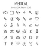 Set of medical icons in modern thin line. Style. High quality black outline medicine symbols for web site design and mobile apps. Simple linear health care Royalty Free Stock Photo