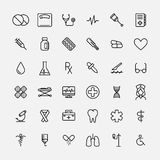 Set of medical icons in modern thin line style. High quality black outline medicine symbols for web site design and mobile apps. Simple linear health care Royalty Free Stock Photography