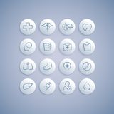 Set of Medical Icons on Pills Royalty Free Stock Photography