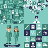 Set of medical icons, seamless background, medical people in flat style Stock Image