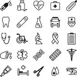 Set of medical icons in thin line style Stock Photo