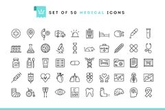 Set of 50 medical icons, thin line style. Illustration vector illustration