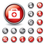 Set of medical icons for web design. Set of glossy buttons and icons for web design stock illustration