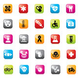 Set of medical icons for web design. Set of glossy buttons and icons for web design vector illustration
