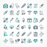 Set of medical icons. On white blue, medicine symbols in black. Vector illustration Stock Photography