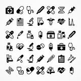 Set of medical icons. On white, medicine symbols in black. Vector illustration Royalty Free Stock Photos