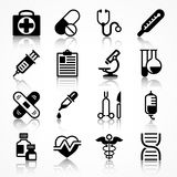 Set of medical icons with shadow. Set of medical icons on white shadow, medicine symbols in black. Vector illustration Royalty Free Stock Images