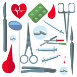 Set  medical items, tools, scissors, enema Royalty Free Stock Photography