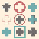 Set of medical logo icons with crosses. Medical design Royalty Free Stock Photo