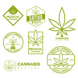 Set of medical marijuana cannabis emblems. Set of medical marijuana cannabis logo, emblem. Medical cannabis related sign. Vector emblem Stock Photography