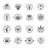 Set of medical marijuana logos. Cannabis badges Stock Images