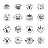 Set of medical marijuana logos. Cannabis badges