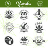 Set of medical marijuana logos. Cannabis badges Stock Photography