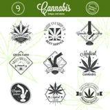 Set of medical marijuana logos. Cannabis badges Stock Photography