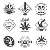 Set of medical marijuana logos. Cannabis badges Stock Photos