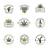 Set of medical marijuana logos. Cannabis badges. Labels and logos for your shop design Royalty Free Stock Images