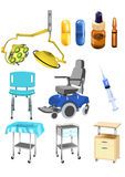 Set of medical objects. Vector set of medical objects isolated on a white background Stock Image