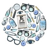 Optics and visual acuity. Set of medical optometry accessory for correct vision - contact lens,  solution, lens case eye test chart, glasses. Vector Stock Photography