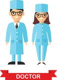 Set of medical people, doctor and nurse. Vector illustration of a medical team, doctor and nurse Stock Photos