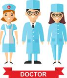Set of medical people, doctor and nurse Royalty Free Stock Photos