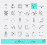 Set of medical and pharmaceutical icons. Royalty Free Stock Photo