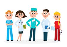 Set of medical staff - doctors, nurse and surgeon Stock Photography