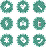 Set of medical stickers logo badges labels. Royalty Free Stock Image