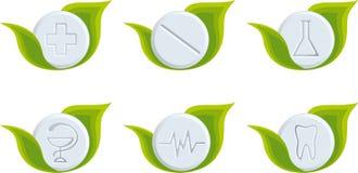 Set of medical symbols. (Green natural tablets Royalty Free Stock Photography