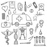 Set of medical symbols and signs hand drawn Royalty Free Stock Photos