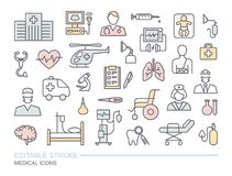 Set of medical on the theme of diagnostics, treatment, and hospital. Linear icons with editable stroke