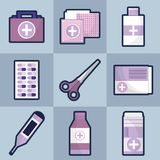 Set medical tratment with first aid tools. Vector illustration Stock Photo