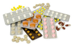 Set of medications for a quick recovery and sustain life. Isolated Royalty Free Stock Photography