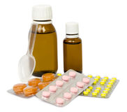Set of medications for a quick recovery and sustain life. Isolated Royalty Free Stock Photo