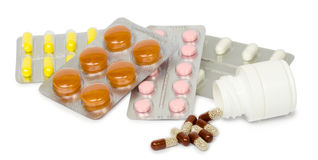 Set of medications for a quick recovery and sustain life. Isolated Stock Photo