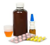 Set of medications for a quick recovery and sustain life. Isolated Royalty Free Stock Photos