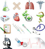 Set of medicine elements. Royalty Free Stock Image
