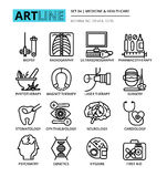 Set of medicine and healthcare icons. Modern editable line vector illustration, set of medicine and healthcare icons, for graphic and web design Stock Photos
