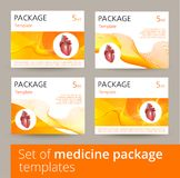 Set of Medicine package template design variations with realistic human heart. Medicine package template design with realistic human heart. Vector illustration Stock Photography