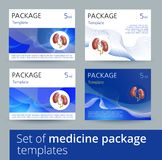 Set of Medicine package template design variations with realistic human kidneys. Medicine package template design with realistic human kidneys. Vector Royalty Free Stock Photography