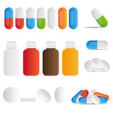 Pills. Set of medicine pills, tablets and bottles on white background. EPS file available stock illustration