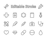 Set of medicine vector line icons. It contains the first aid kit, nurse, syringe, thermometer, plastic, pills, heart stock illustration