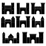 Set of medieval castles,  illustration Stock Images