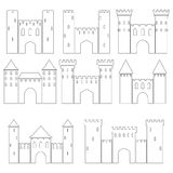 Set of medieval castles, vector illustration Royalty Free Stock Photo