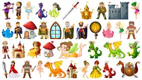 Set of medieval character. Illustration royalty free illustration
