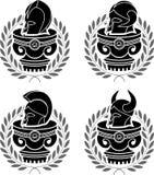 Set of medieval helmets Stock Photo