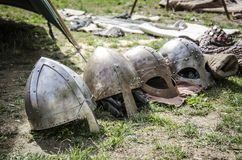Set of medieval helmets. Medieval cases Royalty Free Stock Photos