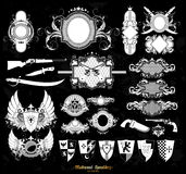 Set of medieval heraldry Stock Images