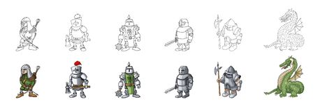 Set of medieval knight characters cartoon style vector illustration royalty free stock photography
